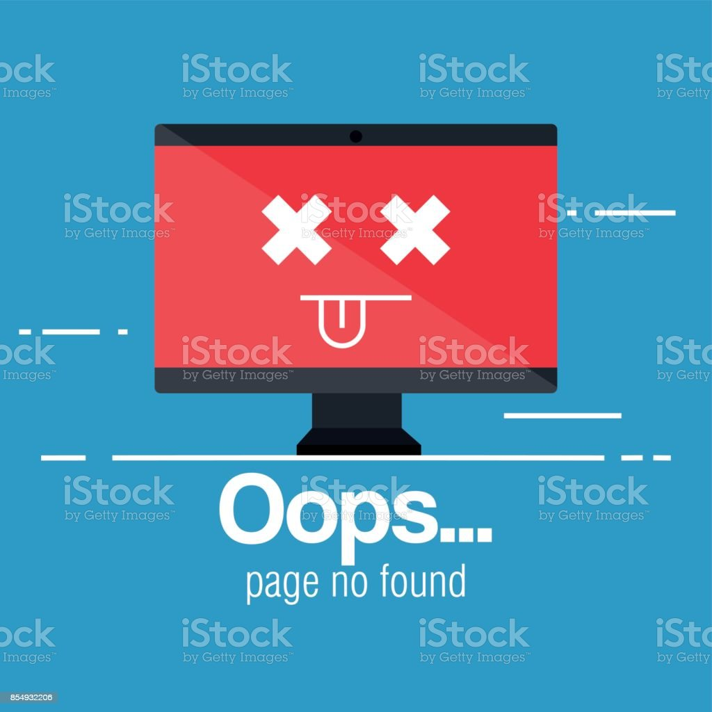 oops page no found concept vector art illustration