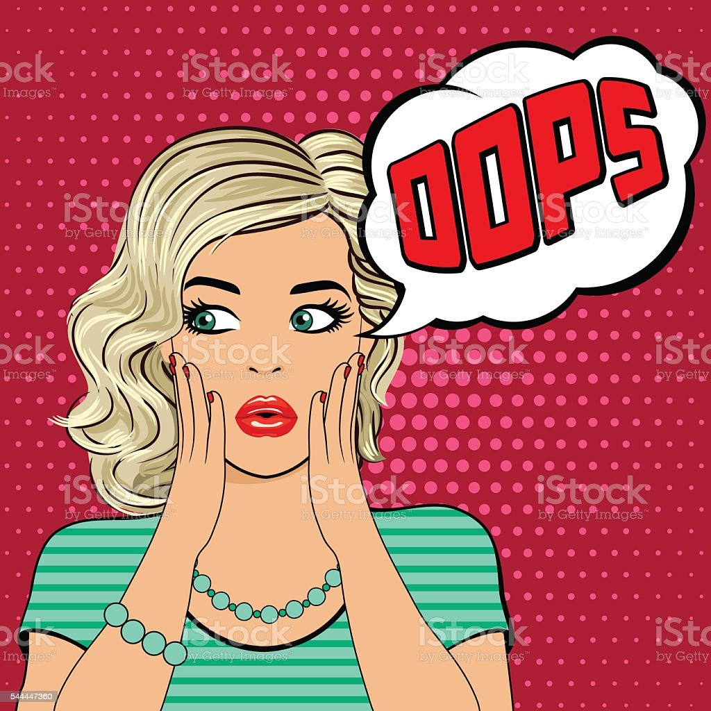Oops. Surprised young blonde woman vector art illustration