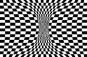 Op art background: Deformed checked pattern.