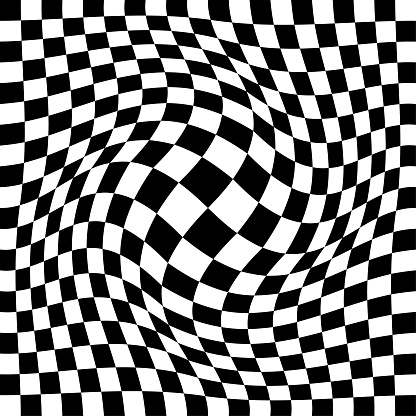 Op art background: Expanded checked pattern.