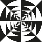 Op art infinite kaleidoscope vortex tunnel of squares and circles