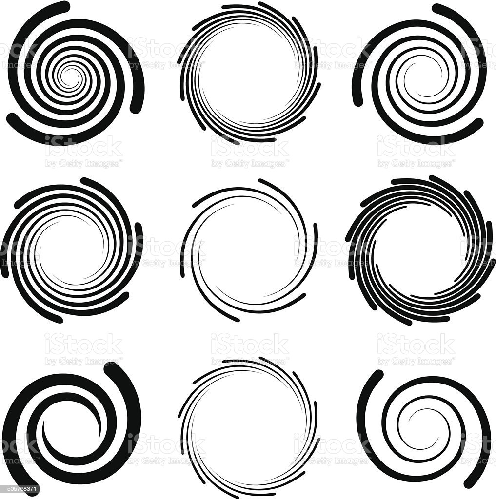 Op Art Swirl Patterns with Rounded Edges vector art illustration