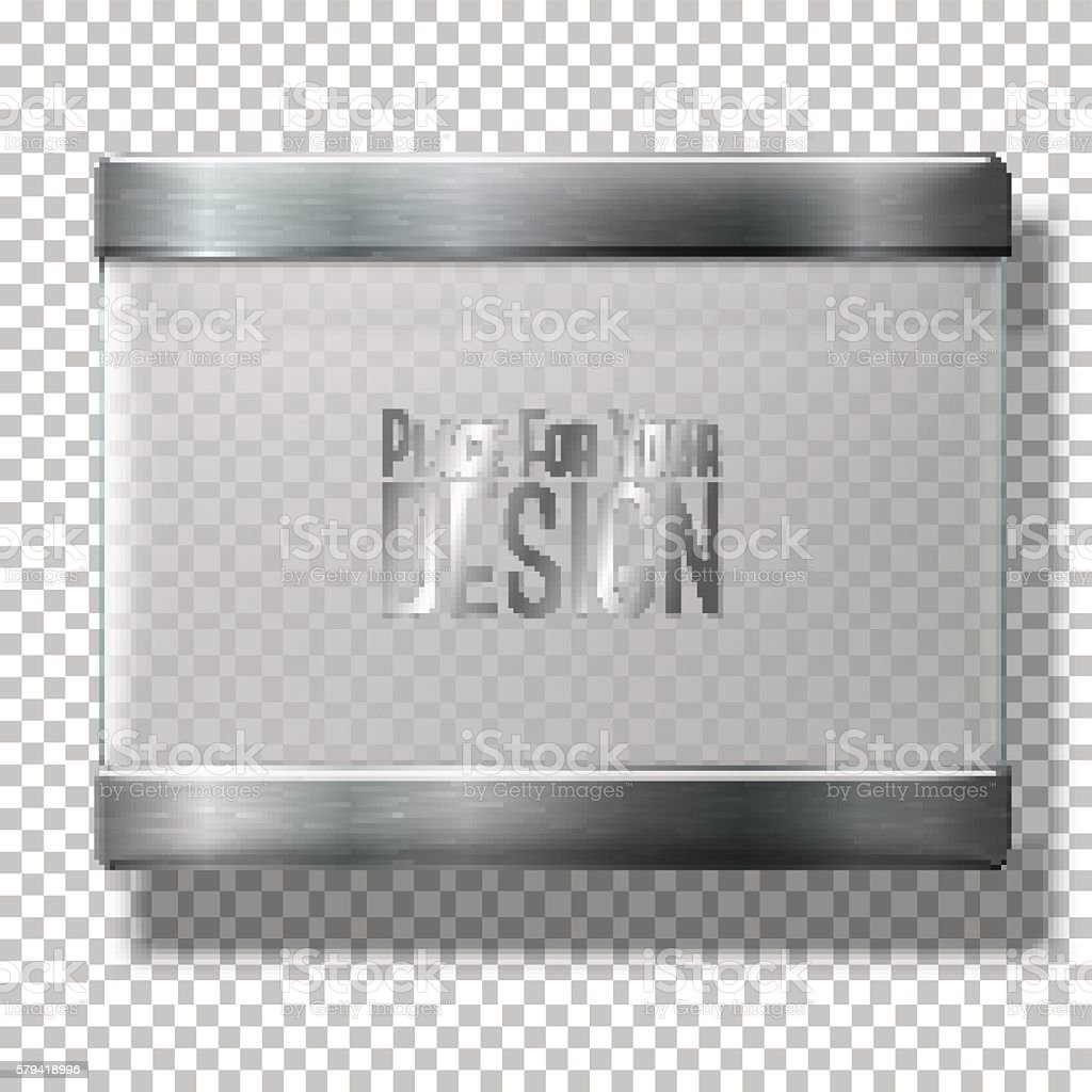 Opaque transparent vector glass plate with metal holders, for your vector art illustration