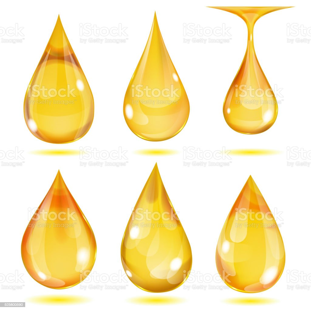 Opaque yellow drops vector art illustration