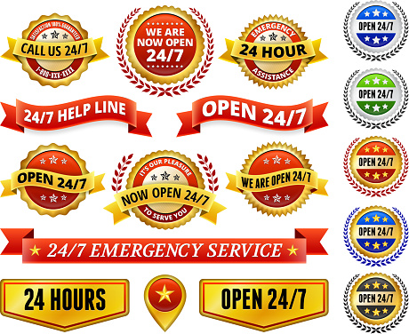 Open 24 7 Badges Red and Yellow Badge Set