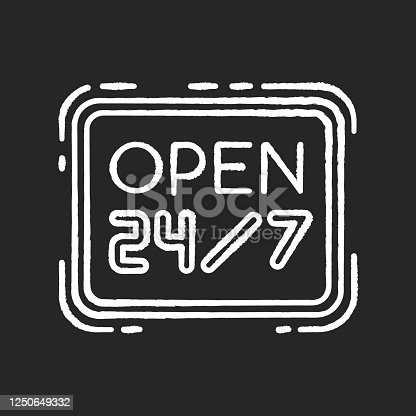 Open 24 7 hours chalk white icon on black background. Twenty four seven store. Hanging retail sign. Signage for 24 hrs shop. Supermarket signboard. Isolated vector chalkboard illustration