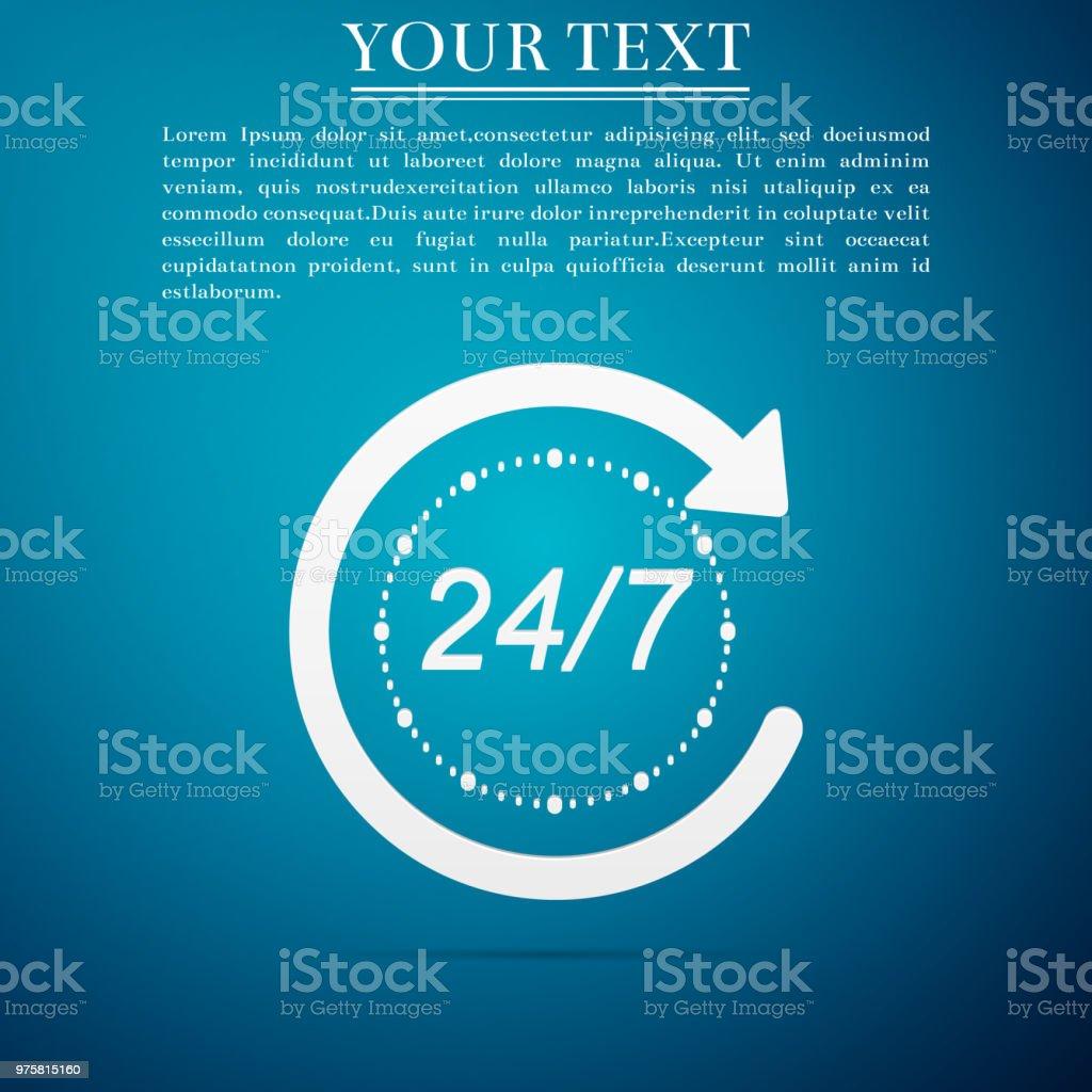Geöffnet 24 Stunden am Tag und 7 Tage eine Woche Symbol isoliert auf Hintergrund blauen. Zyklische Symbol alle Tag. Flaches Design. Vektor-Illustration - Lizenzfrei Abzeichen Vektorgrafik