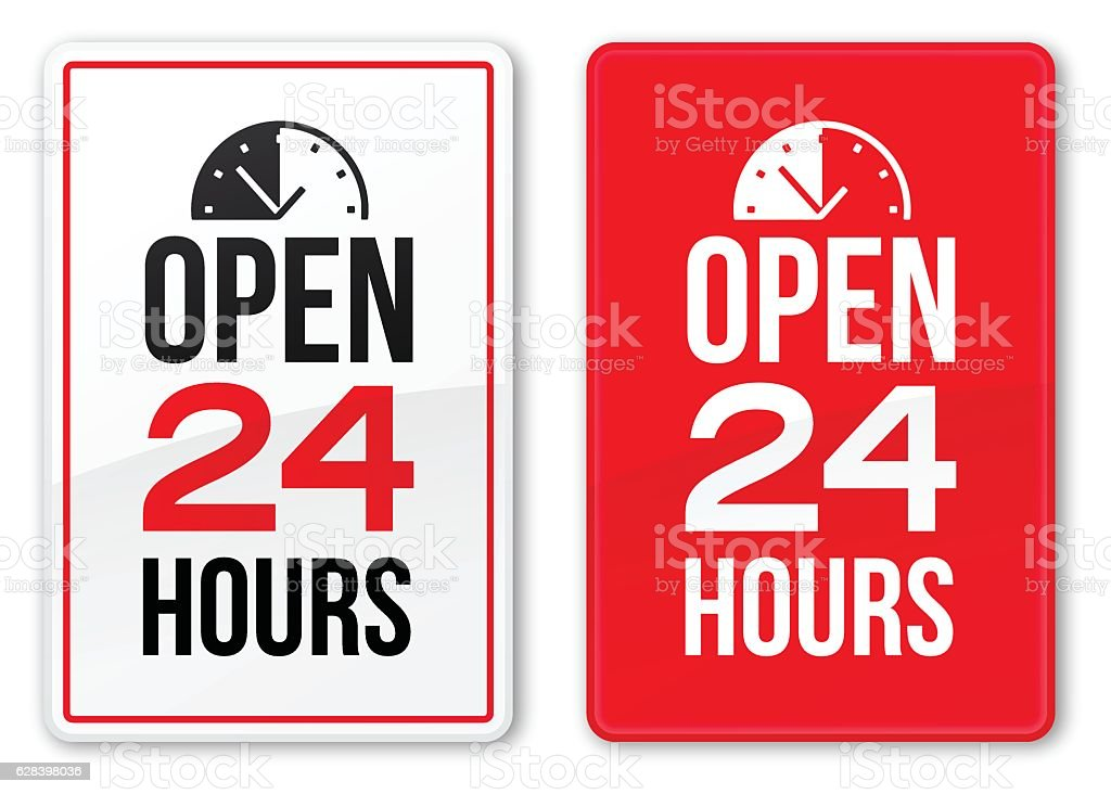 Open 24 Hours Signs vector art illustration