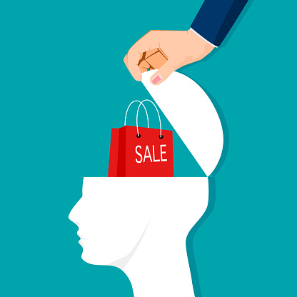 Open a human head and a bag of sales. sales ideas. vector illustration