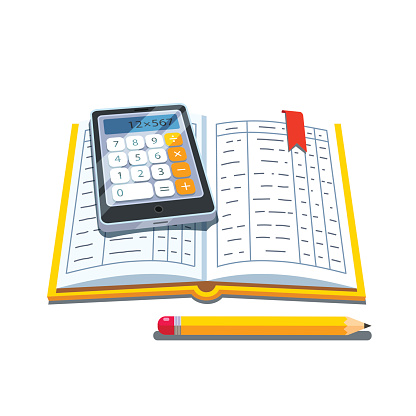 Open accounting book or ledger tables with calculator and pencil. Flat style vector illustration isolated on white background.