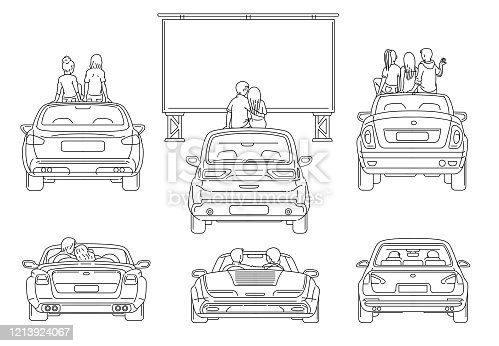 Open air cinema with people watching movies outdoors in the city parking, sketch vector black line illustration isolated on white background. Movie theater entertainment.
