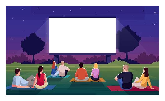 Open air cinema semi flat vector illustration