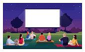 istock Open air cinema semi flat vector illustration 1270189219