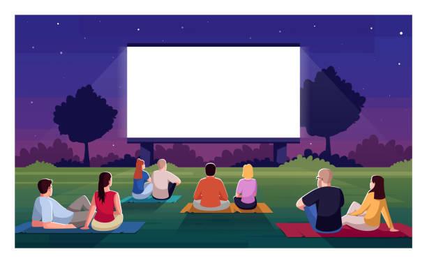 ilustrações, clipart, desenhos animados e ícones de ilustração de vetor semi plano do cinema ao ar livre - exterior
