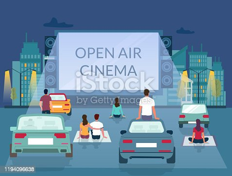 Open air cinema, vector illustration. Male and female characters watching film on big screen while sitting on ground and car roof in parking lot. Outdoor movie theater, drive-in cinema poster template