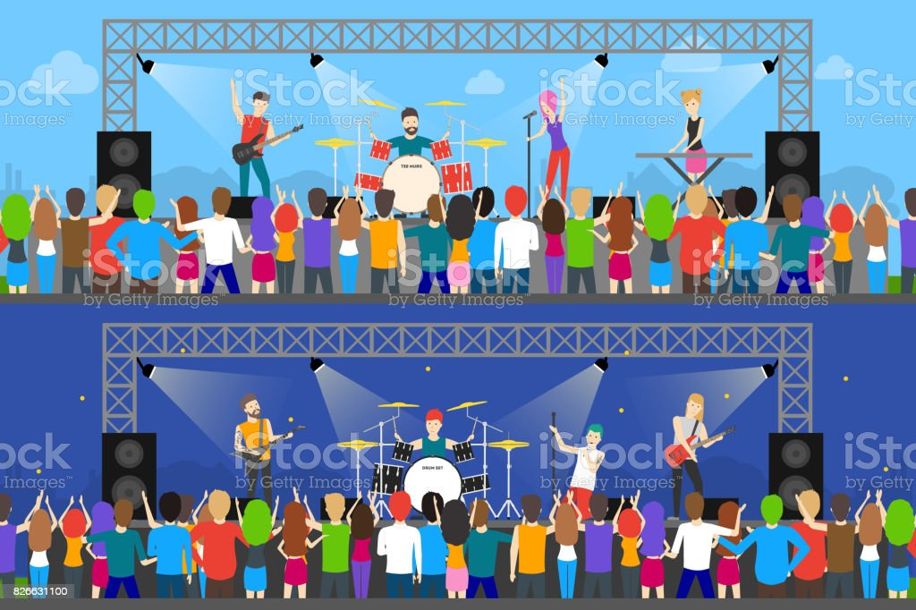 Open air concerts set. royalty-free open air concerts set stock illustration - download image now