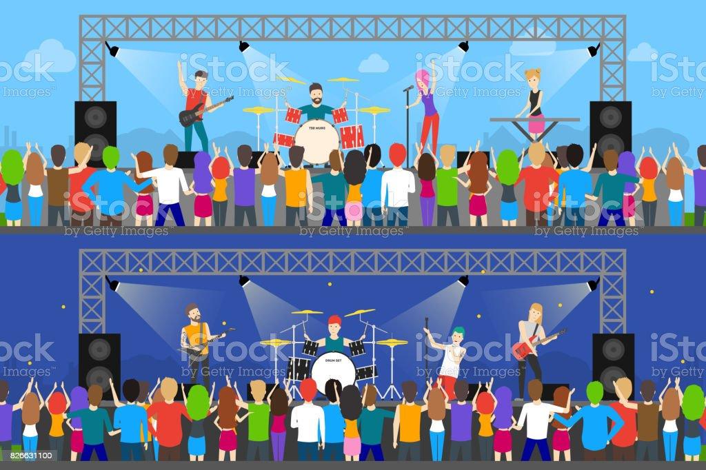 Open air concerts set. vector art illustration