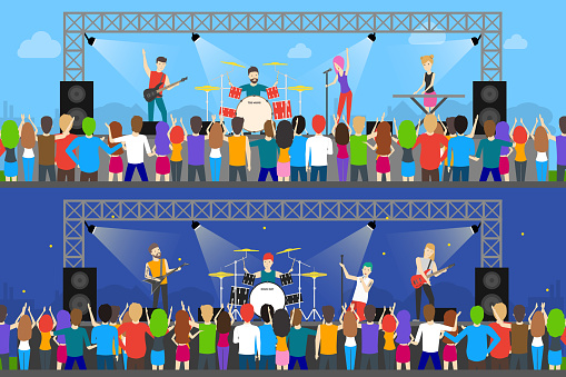 Open Air Concerts Set Stock Illustration - Download Image Now