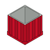 Open air drop box from the game PlayerUnknowns Battlegrounds. PUBG. Isometric container. Battle royal concept. Clean and modern vector illustration for design, web.
