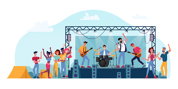 Open air festival, rock band on stage isolated musicians and crowd of fans people. Vector music players perform on electric guitars, drums kit set, singer sing songs in microphone, summer stage