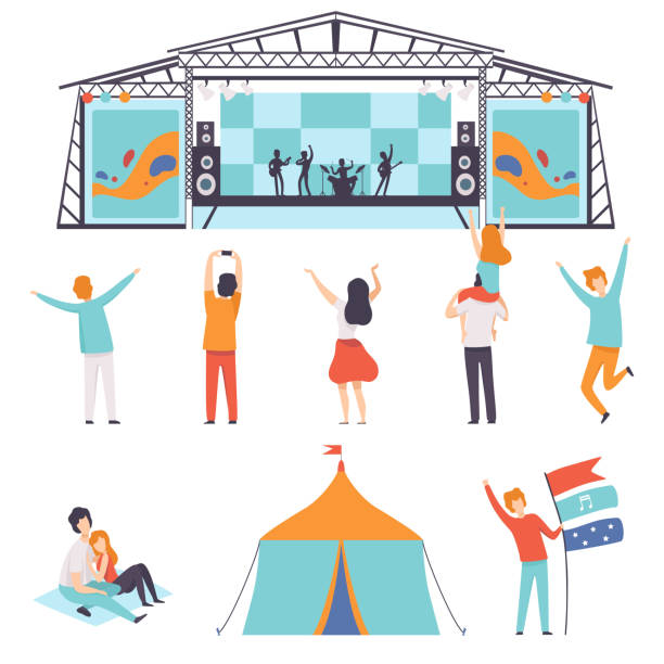 illustrazioni stock, clip art, cartoni animati e icone di tendenza di open air festival set, music band performing on stage, people dancing, cheering, partying in camping park vector illustration - concerto