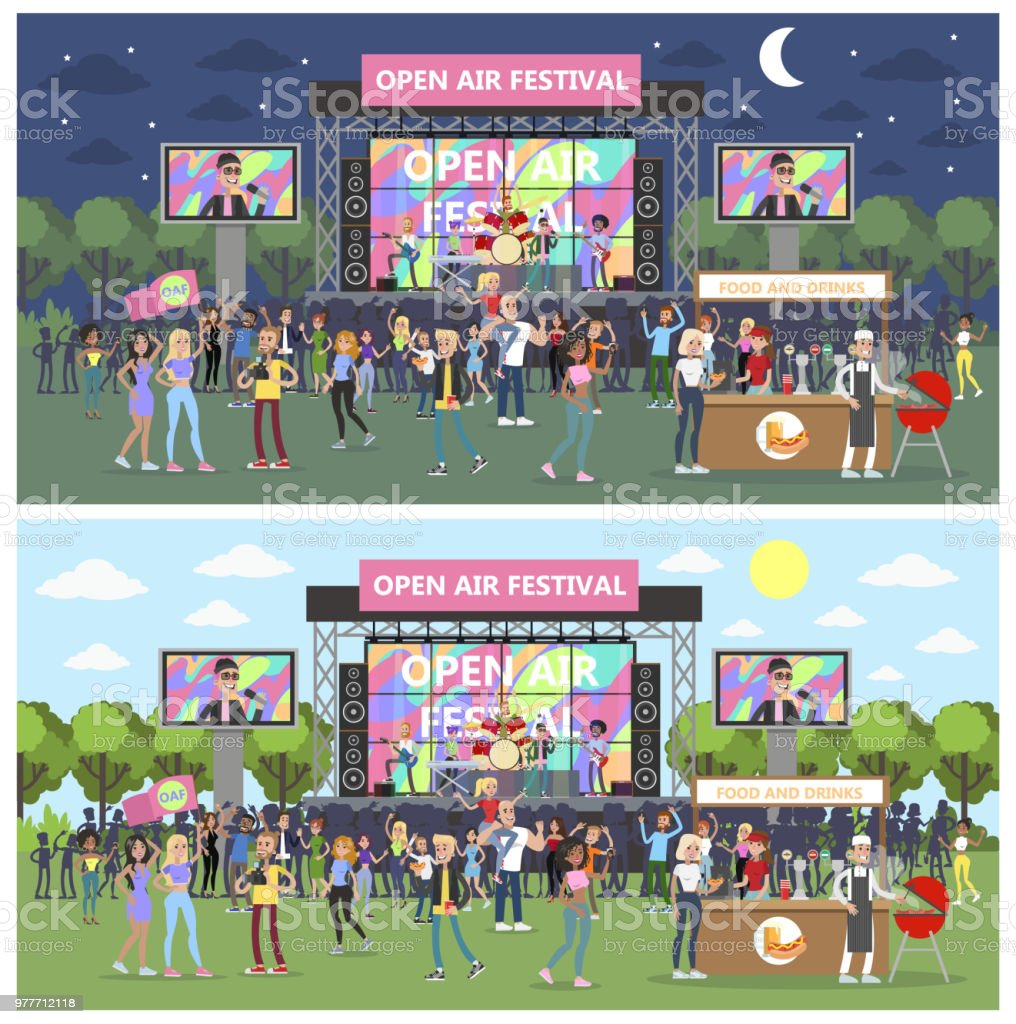Open air festival set . royalty-free open air festival set stock illustration - download image now