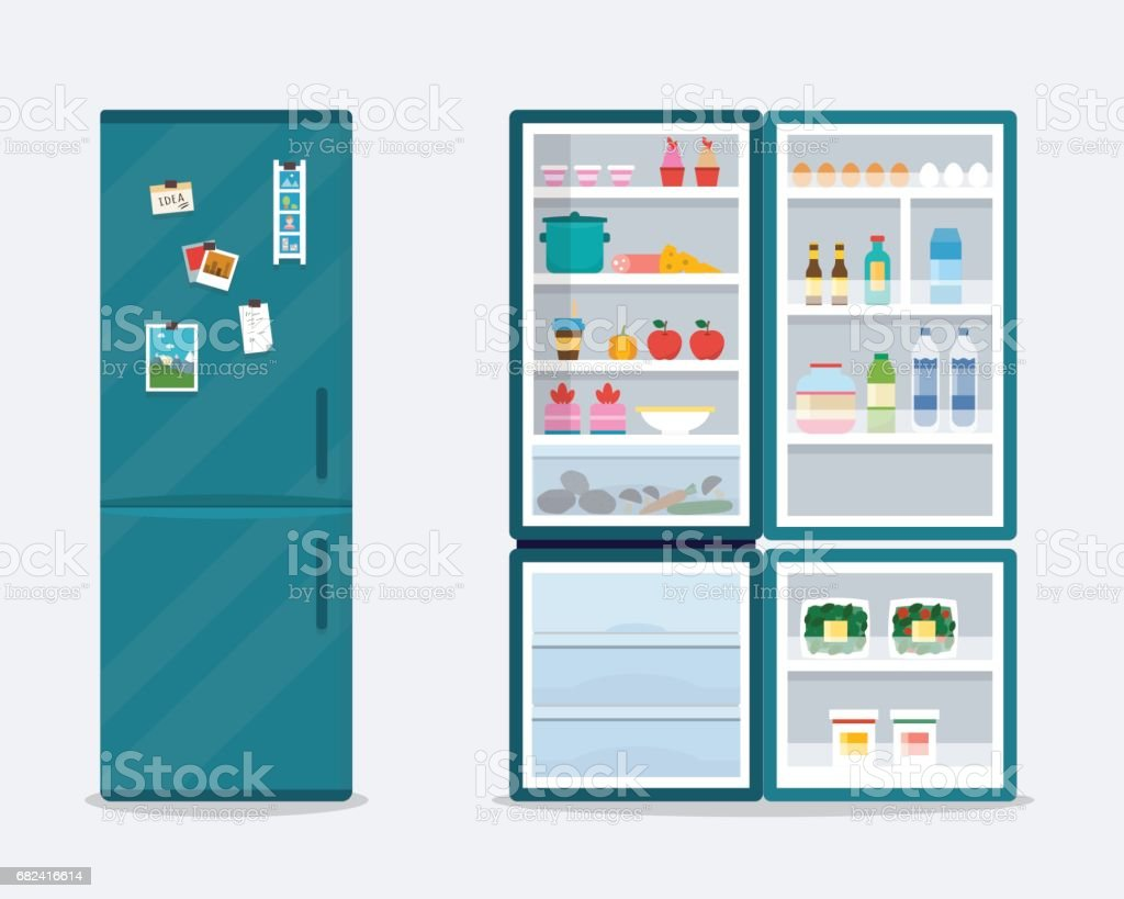 Open and close fridge. royalty-free open and close fridge stock vector art & more images of appliance