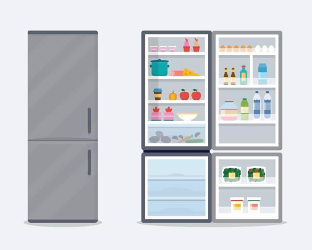 kühlschrank öffnen und schließen. - kühlschränke stock-grafiken, -clipart, -cartoons und -symbole