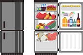 Open and close refrigerator. Kitchen fridge with food. Fridge with food, illustration of full refrigerator vector