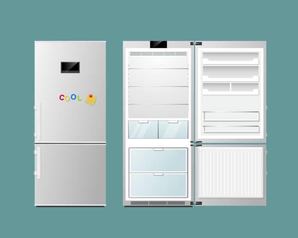 kühlschrank öffnen und schließen - kühlschränke stock-grafiken, -clipart, -cartoons und -symbole