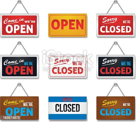Open and close sign-collection, vector illustration