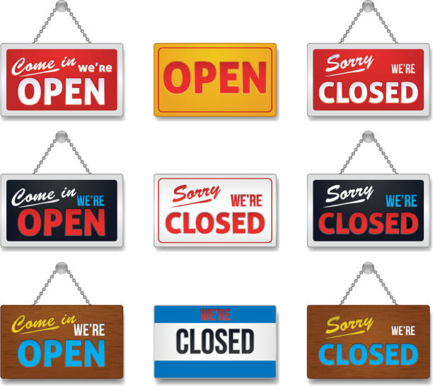 Open and close sign-collection Open and close sign-collection, vector illustration open sign stock illustrations