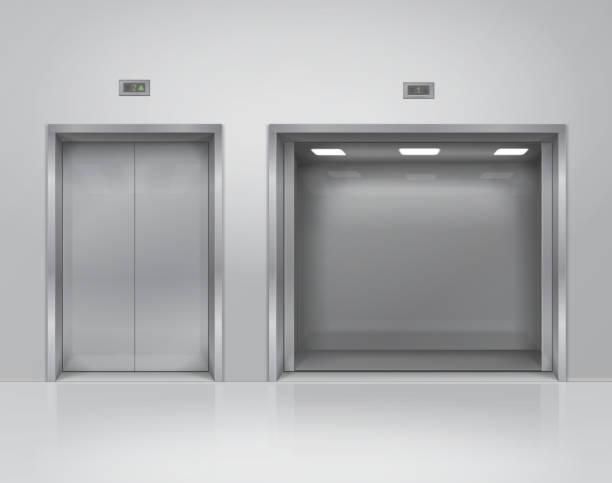 illustrazioni stock, clip art, cartoni animati e icone di tendenza di aprire e chiudere grandi e piccole porte dell'ascensore in metallo. design realistico degli interni vettoriali 3d - ascensore