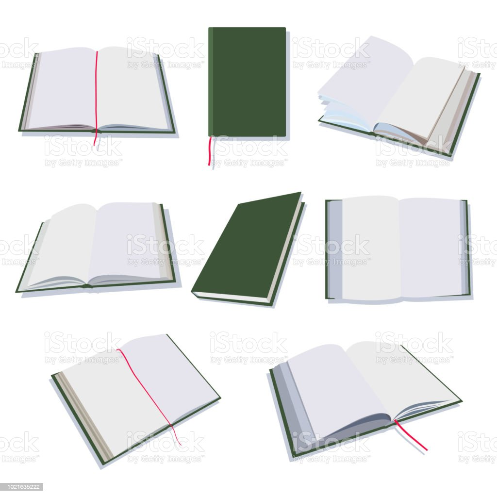 Open and closed books, diary, notepad vector flat icons set isolated on white background. vector art illustration