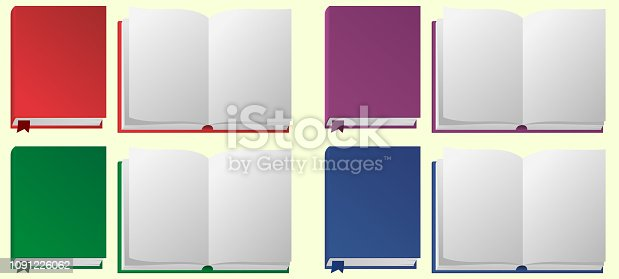 Beautiful set with different color open and closed books on white background