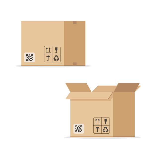 Open and closed cardboard box Open and closed cardboard box. Concept of warehouse and delivery. Vector illustration isolated on white background cardboard box stock illustrations