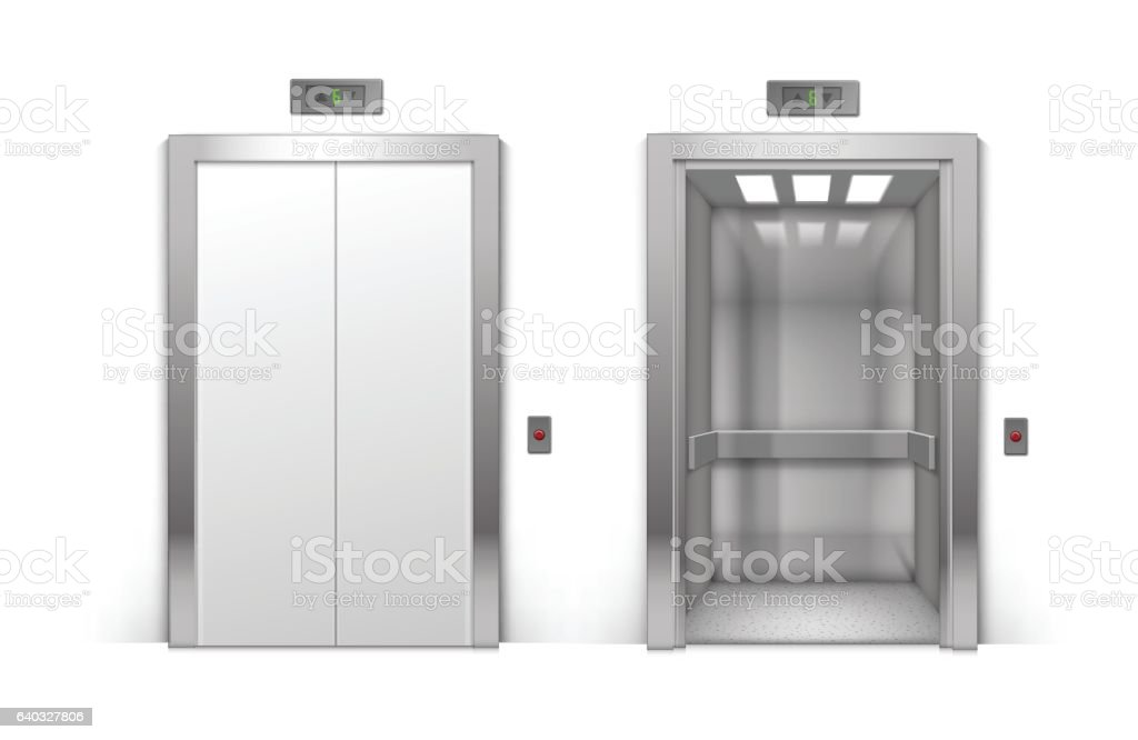 Open and Closed Chrome Metal Building Elevator Doors on Background vector art illustration
