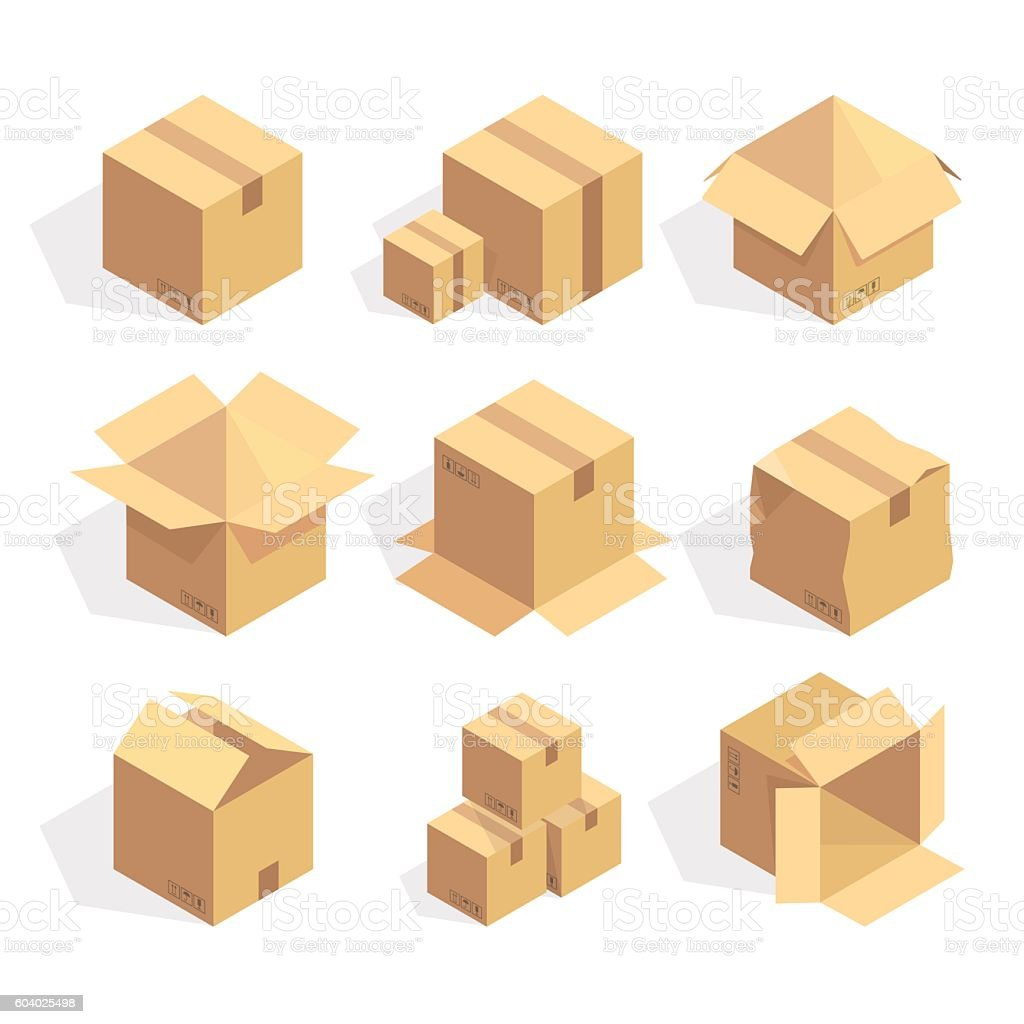 Open and closed delivery cardboard icons set isolated vector illustration vector art illustration