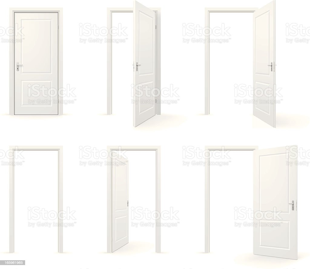 Open and closed doors vector art illustration