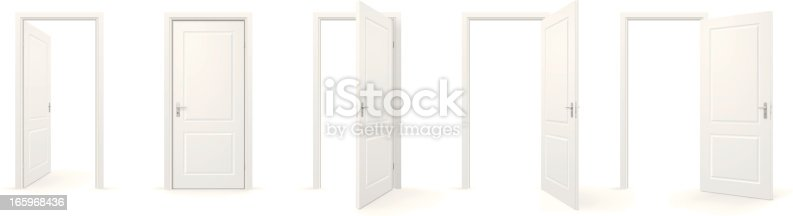 Set of open and closed doors.