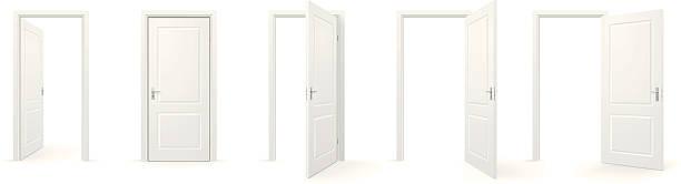 Open and closed doors Set of open and closed doors. front door stock illustrations