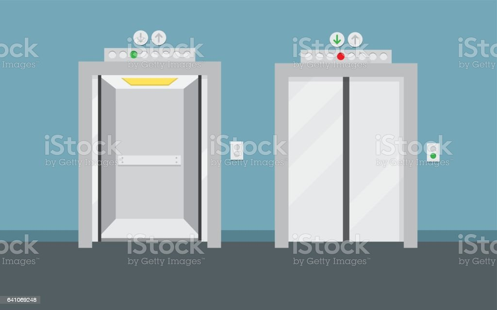 Open and closed elevator doors vector art illustration