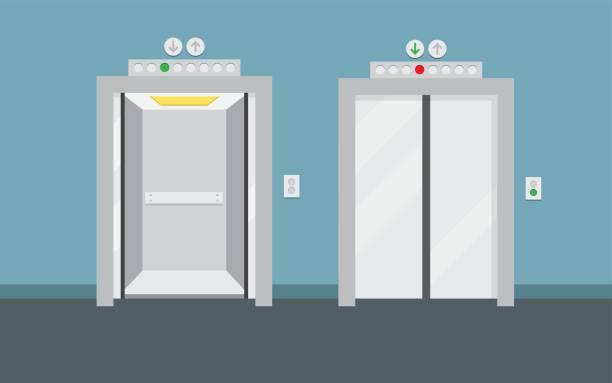 illustrazioni stock, clip art, cartoni animati e icone di tendenza di open and closed elevator doors - ascensore