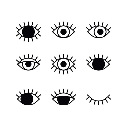 Open and closed eyes line icons set on white background. Look, see, sight, view sign and symbol. Vector linear graphic element. Optical and search theme in minimal design style. Eye with eyelashes.