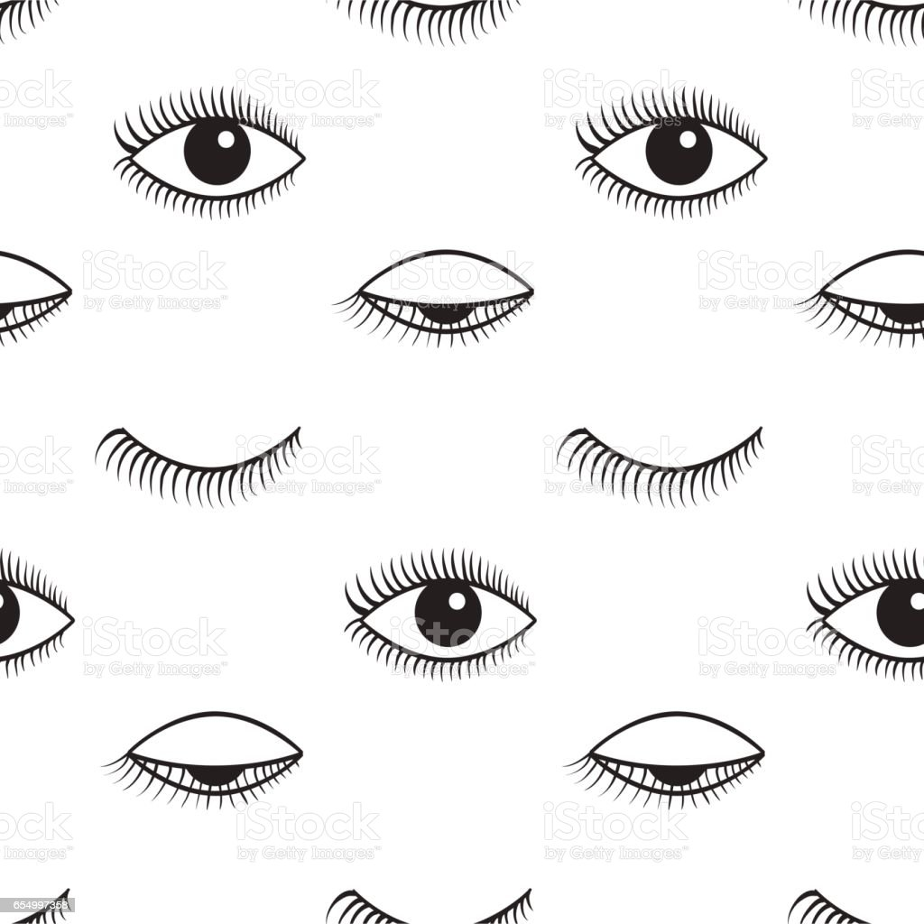 Open and closed eyes vector seamless pattern. vector art illustration