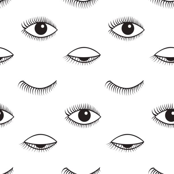 Open and closed eyes vector seamless pattern. Pattern of open and closed eyes. Vector seamless pattern. blinking stock illustrations