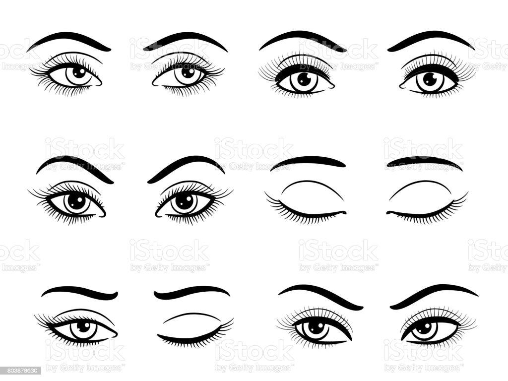 Offene und geschlossene weibliche Augen set – Vektorgrafik
