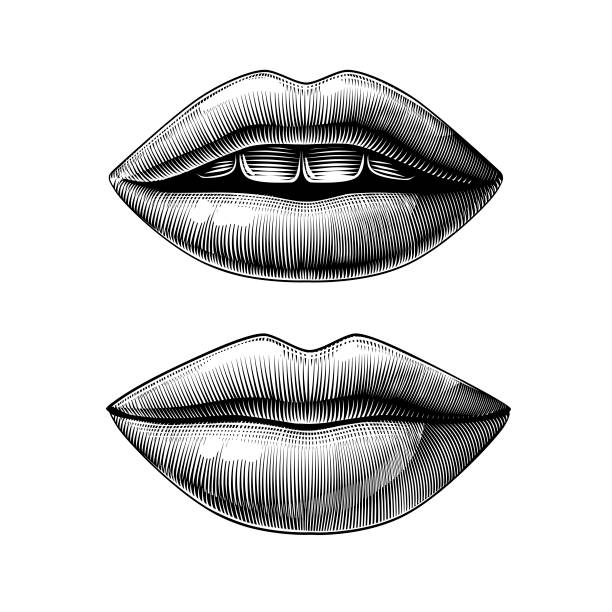 illustrazioni stock, clip art, cartoni animati e icone di tendenza di open and closed female sexy mouth - smile woman open mouth
