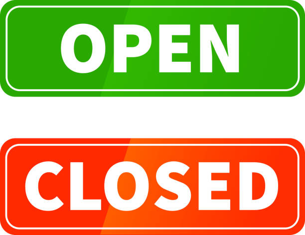 Open and closed glossy signs on white Open and closed bright glossy signs for shop door isolated on white closed sign stock illustrations