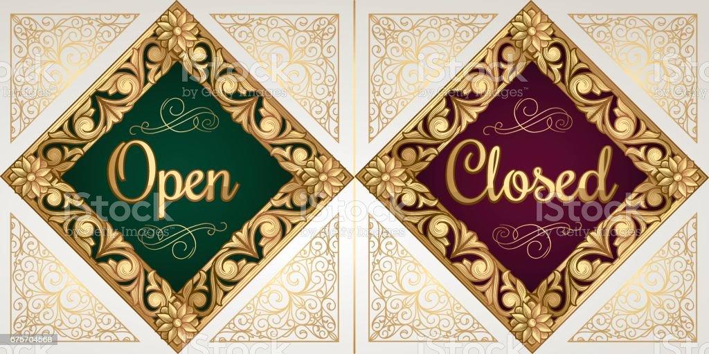 打開和關閉的金黃古董裝飾標誌 免版稅 打開和關閉的金黃古董裝飾標誌 向量插圖及更多 信 - 文件 圖片